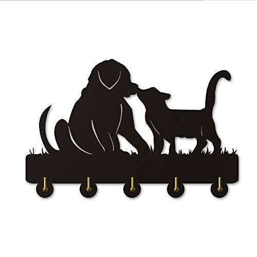 Percheros Pared Perchero Entrada Recibidor Gato Y Perro Silueta Gancho De Madera InstalacióN De La Puerta De La Pared Abrigo De La Ropa Sombrero Llave Gancho / Perchero / Gancho De La Pared Cocina Toa