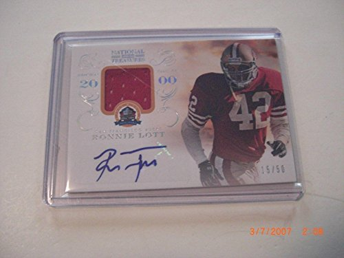 Ronnie Lott 2013 National Treasures Game Used Jersey Auto 15/50 Signed Card - Football Game Used Cards