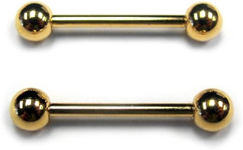 Urban Body Jewelry Gold Plated Stainless Steel Nipple Ring Bar 14G (Sold in Pairs)