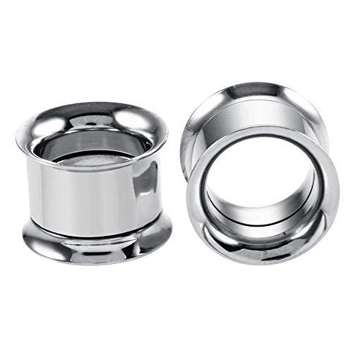 1 par 2-30mm Ear GAUGES 316L ACERO DE ACERO INOXIDABLE TUNNELS PLUMOS Piercing Joyas Ear camillas Expansores Tapones y túneles-B- plata_10mm.