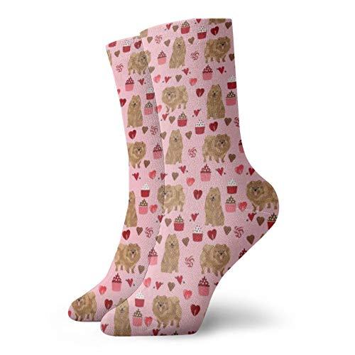 Colin-Design Personalisierbare Socken mit Zwergspitz-H&, Pink, für Valentinstag, Valentinstag, Sport, Athletik, Strümpfe, 30 cm, Crew-Socken für Männer & Frauen
