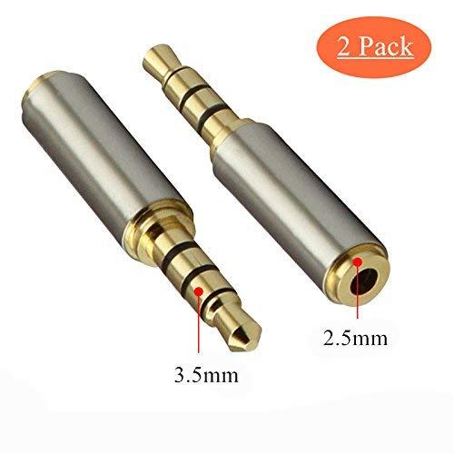 3,5 mm Macho a 2,5 mm Hembra Adaptador de Audio Chapado en Oro micrófono Adaptador de Audio Extensor de Conector Jack para Smartphones, Altavoces, micrófonos y lectores de Tarjetas 2 Pack