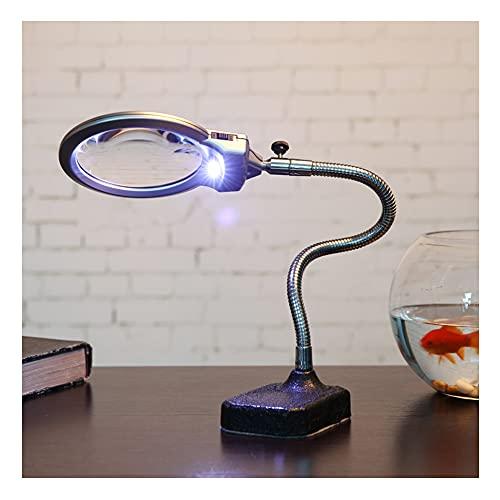 Lámpara de escritorio 10X/20X con lupa regulable con luz y soporte, lupa de mano regulable luces LED para trabajar, leer, aficiones, costura, manualidades, color negro XUE-BAI/A