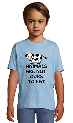 Animals are Not Ours to Eat Vegan Slogan Top Heaven Blue Crew Neck Kids T-Shirt 118-128 (8 Year)