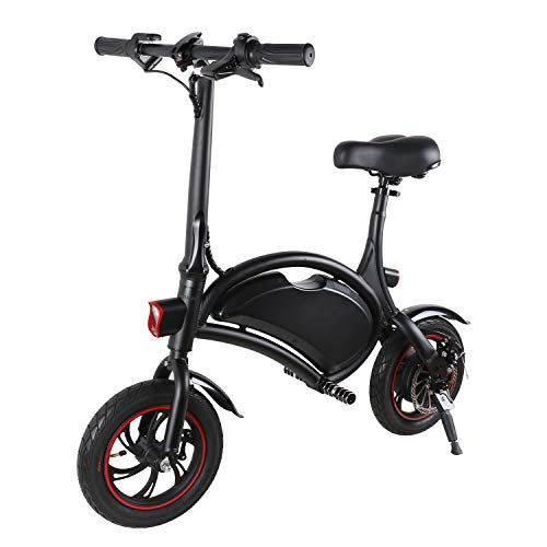 Electric Bike Adults,Folding Mountain E-Bicycle with Powerful 350w Motor,10.4Ah High Capacity Battery, 14 Inch Tires, 3 Working Modes, Long Distance of 60 km, Central Shock Absorber, LED Lighting
