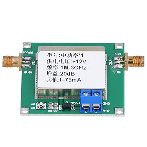 Placa amplificadora, módulo amplificador 19.5DB ganancia 12V DC 75MA 1MHz a 3GHz ancho de banda bajo ruido RF placa de módulo amplificador