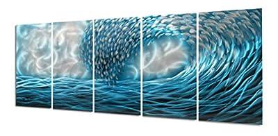 Yihui Arts Metal Wall Art Modern Home Decor Sea Wave Wall Painting Metallic Sculpture by Yihui Arts