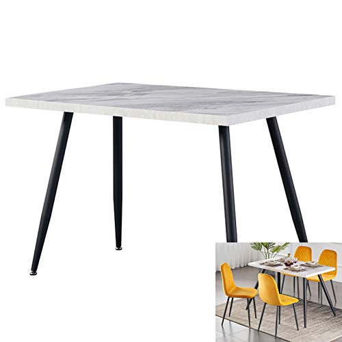 AINPECCA Dining Table with Black Metal Legs Kitchen Table (White Marble Effect Top, 120 * 70cm)