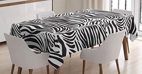 ABAKUHAUS El Estampado de Zebra Mantele, Líneas Salvajes Cebra, Estampado con la Última Tecnología Lavable Colores Firmes, 140 x 200 cm, Blanco Negro