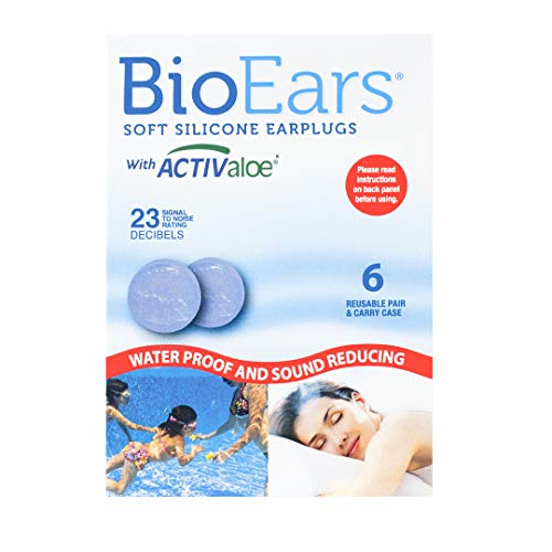 BioEars Soft Silicone Earplugs with ACTIValoe. Premium silicone. Protection from Water and Noise (6 pairs)