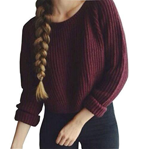 Pull court à manches longues Tricot Femmes, Toamen Femmes Manche longue Pull court en maille lâche Outwear Garder au chaud Hiver L'automne (XL, rouge)