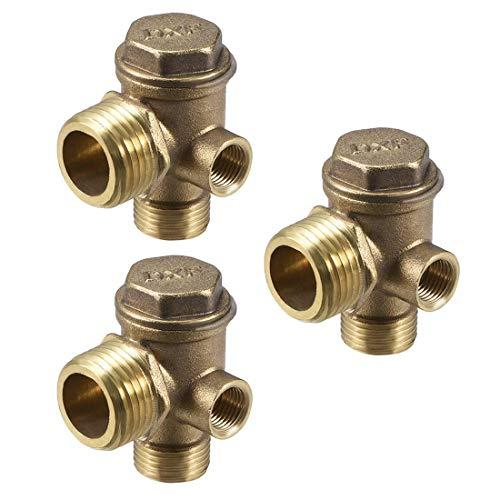 YeVhear - Válvula antirretorno de compresor de aire con rosca G1 / 2 x G3 / 8 x G1 / 8 M/F, accesorio neumático de 3 vías, latón para compresor de aire neumático central 3 piezas
