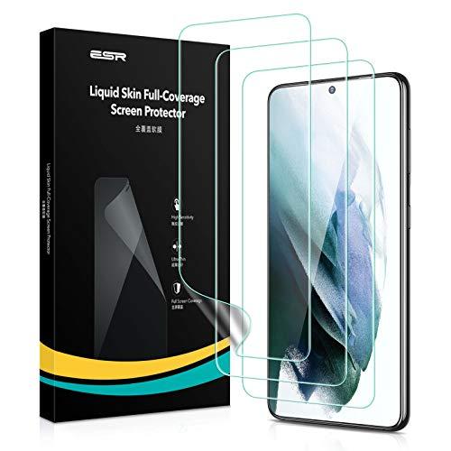 ESR Protector de Pantalla Liquid Skin Compatible con Samsung Galaxy S21 Plus (2021) 3 Unidades, Compatible con Sensor de Huellas, Film de polímero, Cobertura Completa, instalación en seco.