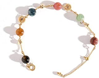 LWQQY Natural Neon Tourmaline Bracelet Female 14K Gold Fortune Transfer Lucky Bracelet Niche Design Colorful Crystal