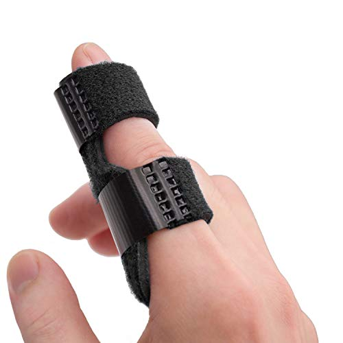 Sumifun Trigger Finger Splints, Finger Support with 2 Gel Sleeves, Mallet Finger Brace for Pain Relief, Arthritis, Sports Injuries(L, Black)