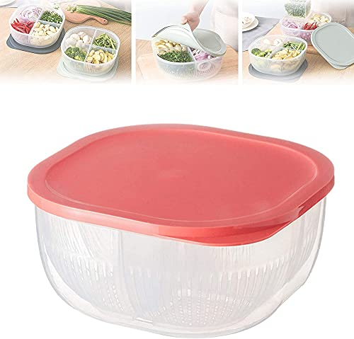 4 In 1 Onion And Garlic Drained Storage Box,Kitchen Fruit Vegetables Sealed Box Drained Food Storage Containers For Storage And Long Shelf Life (Pink)