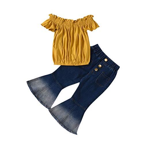 Verve Jelly 2Pcs Kleinkind Kinder Baby Mädchen Off Shoulder Top Shirt & Flare Jeans Bell-Bottom Pants Outfits Sommerkleidung