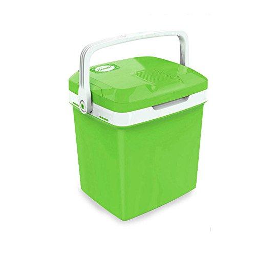 HAIZHEN Mini-koelkast, 26 liter, draagbaar, compact en compact, voor thuis, outlet en 12 V, autolader, blauw/groen