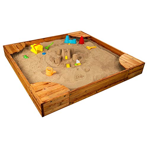 KidKraft Wooden Backyard Sandbox with Built-in Corner Seating and Mesh Cover, Honey ,Gift for Ages 2-8