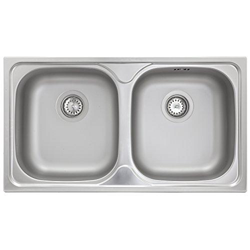 Küchenspüle 2 Becken Spüle Edelstahl ED 7843 Doppelbecken (ohne Hahnloch)