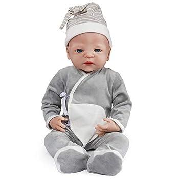 Vollence 22 inch Realistic Reborn Baby Doll,Not Vinyl Material Dolls,Real Full Body Silicone Baby Dolls,Handmade Lifelike Newborn Baby Doll - Boy