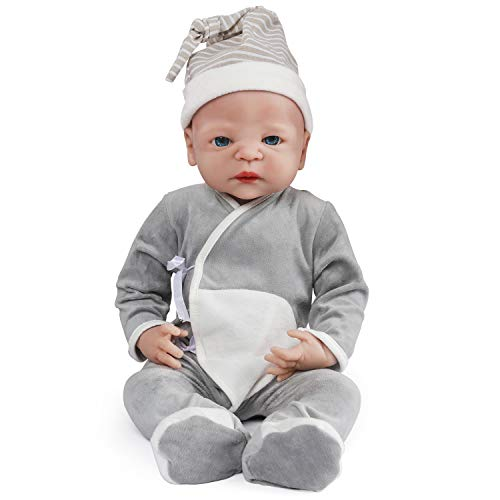 Vollence 22 inch Full Silicone Baby Doll,Not Vinyl Material Dolls,Real Full Body Silicone Baby Dolls,Realistic Lifelike Newborn Baby Doll - Boy