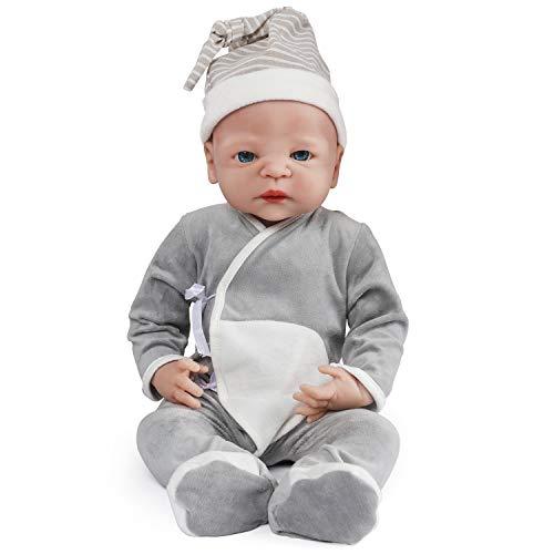 Vollence Poupée Reborn bébé réaliste 55 cm, sans PVC, Silicone Platine, Corps Complet Aspect réel, Réaliste, Doux fabriqué à la Main avec vêtements - Garçon