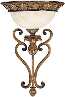 Livex Lighting 8460-57 Savannah 1 Light Venetian Patina Wall Sconce with Vintage carved Scavo Glass