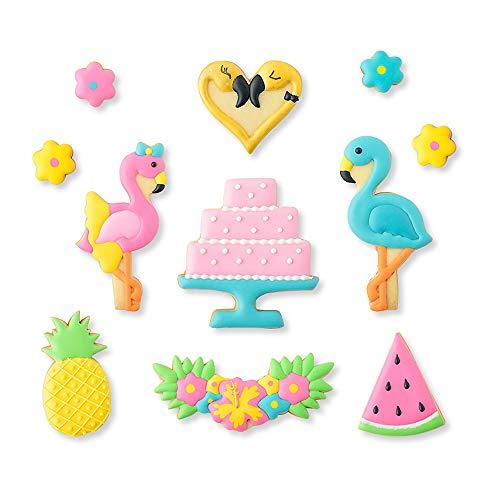 Set mit 14 Flamingo-Ausstechformen mit passenden Plätzchen-Schablonen, 8 Ausstechformen und 6 Schablonen, inklusive 2 Flamingos, Girlande, Herz, Kuchenform, Ananas, Wassermelone und Blume.