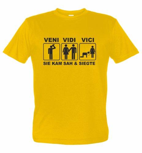 Junggesellenabschied T-Shirt Motiv Veni VIDI VICI SIE KAM SAH & SIEGTE (XXXL, gelb)