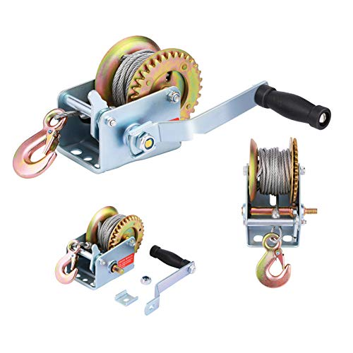 TYT 600lbs Hand Winch with 19ft Blue Nylon Strap 600lb with Blue Strap Zinc Winch Two Way Ratchet Crank Gear Winch with Heavy Duty Hook for ATV SUV Truck RV Carbon Steel Boat Trailer Winch Winch
