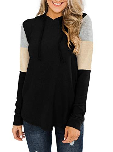 REORIA Sudadera de mujer con capucha con cordón de manga larga con bloques de color, Negro , L