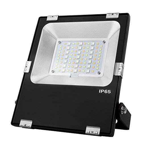 LIGHTEU® Milight Lampe de jardin RGBCCT 30W WiFi Couleur RVB avec blanc chaud et bland froid,changement de couleur et de température de couleur réglable Projecteur IP65 futt03