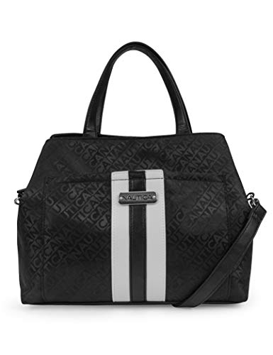 Nautica Lakeside Jaquard Triple Entry Satchel with Detachable Crossbody Strap, Black