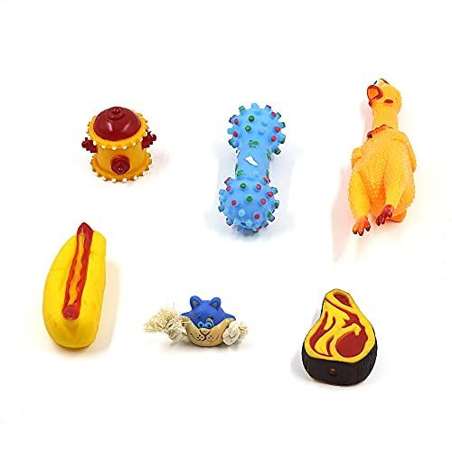 Juguetes para Perros, 6PC Cuerda de Juguete para Perros Juguete de Goma para Perros Pollo Gritando Amarillo (PACK1)