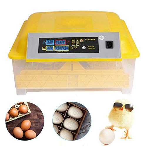Egg Incubators Digital Poultry Hatcher Machine with Automatic Egg Turning, Temperature & Humidity Control, LED Screen, General Purpose 48 Eggs Incubator for Chickens Ducks Birds (Lemon yellow)