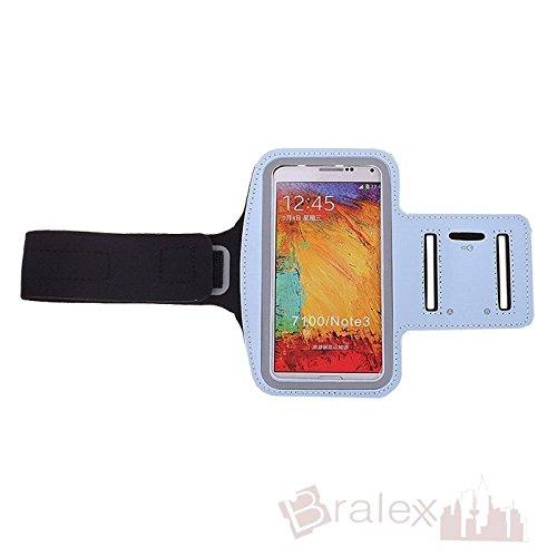 BRALEXX Sporttasche Armtasche Smartphonetasche passend für Samsung Galaxy Note 3 Neo 3G, Hellblau
