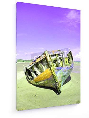 weewado David Elliott - Das zerstörte Boot 20x30 cm Leinwandbild auf Keilrahmen - Wandbild, Poster, Kunst, Gemälde, Foto, Bild auf Leinwand - Auto & Verkehr