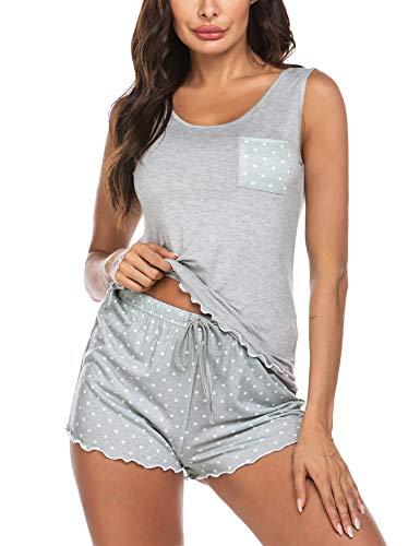 ADOME Damen Sexy Ärmellos Kurz Schlafhemd Nachthemden Baumwolle O-Ausschnitt Nachtwäsche Nachtkleid Negligee Sleepwear Gemütlich Sommer Grau XL