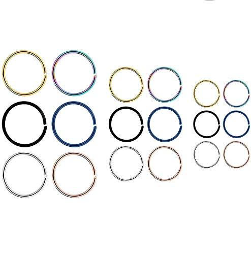 Liuxn 18 Piezas de Aro de Nariz de Acero Inoxidable 20 Gauge Anillo Pendiente para Piercing de Cuerpo, 6 Colores, 3 Tamaños