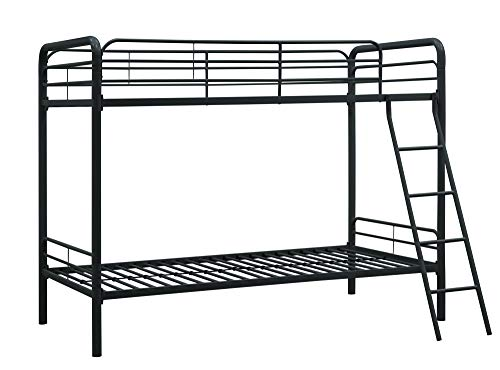 DHP TwinOverTwin Bunk Bed with Metal Frame and Ladder SpaceSaving Design Black