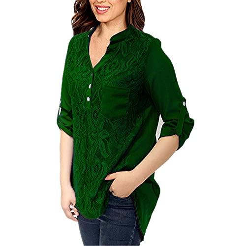 T-Shirt Mujer Cómodo Elegante Primavera Verano Color Sólido Escote V Unico Mangas Larga/Corta Dos Desgastes Diseño Ocio Diario All-Match Mujer Tops C-Green M