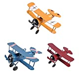 TTKBHHQ 3pc Vintage Metal Planes Model Iron Retro Aircraft Glider Biplane Pendant Model Airplane Kids Toy,Christmas,Home Decor,Ornament,Desktop Decoration
