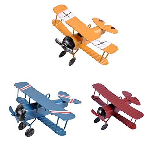 TTKBHHQ 3pc Vintage Metal Planes Model Iron Retro Aircraft Glider Biplane Pendant Model Airplane Kids Toy,Christmas,Home Decor,Ornament,Desktop Decoration