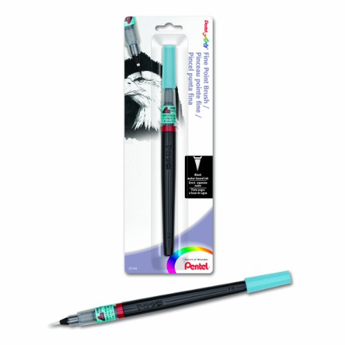 Pentel Arts Brush, Fine Point, Black Ink, Pack of 1 (FL2FBPA)