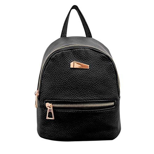 DBSUFV Bolso de Hombro de Color sólido con Tela Negra con Cremallera y Cremallera Dorada Mini Mochila de Cuero PU Bolso de Hombro Informal para Mujer