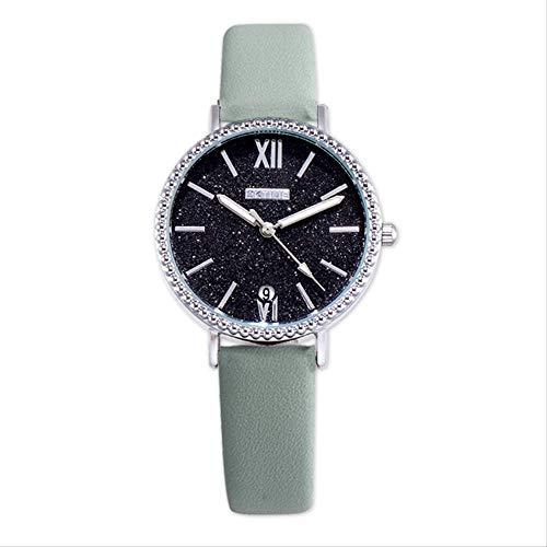 Uhren, Matte Armbanduhren, Kalender-quarzuhren, Damenuhren, Legierungsuhren, 16 Styles Zur Auswahl verstellbar Mintgrün Schwarze Nudeln