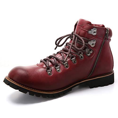 [Arkmiido] ブーツ メンズ エンジニア チャッカ ワーク 靴 防水 ヒール サイド ジップ ショート boots 革 バイク アウトドア マウンテン シューズ(レッド,26)