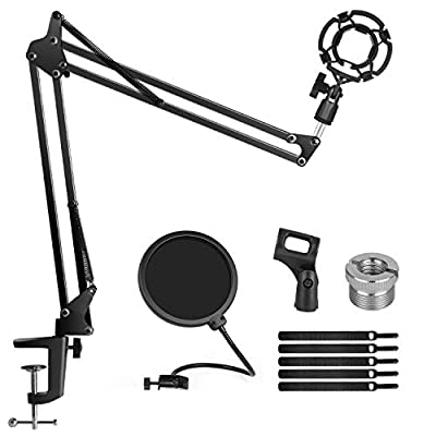 InnoGear Microphone Stand Set with Shock Mount, Mic Clip Holder, Pop Filter, Screw Adapter, Table Mounting Clamp, Five Cable Ties, Professional Recording Equipment