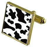 Piel de Vaca Imprimir tono Oro gemelos Crystal Gift Set Clip de corbata